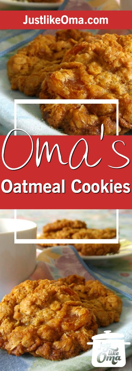 Oma' Best Oatmeal Cookie Recipe, a real German treat. ❤️ Check out http://www.quick-german-recipes.com/best-oatmeal-cookie-recipe.html