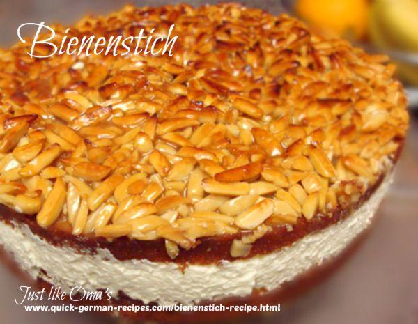 German Cake Recipe: Bienenstich ... Bee Sting Cake