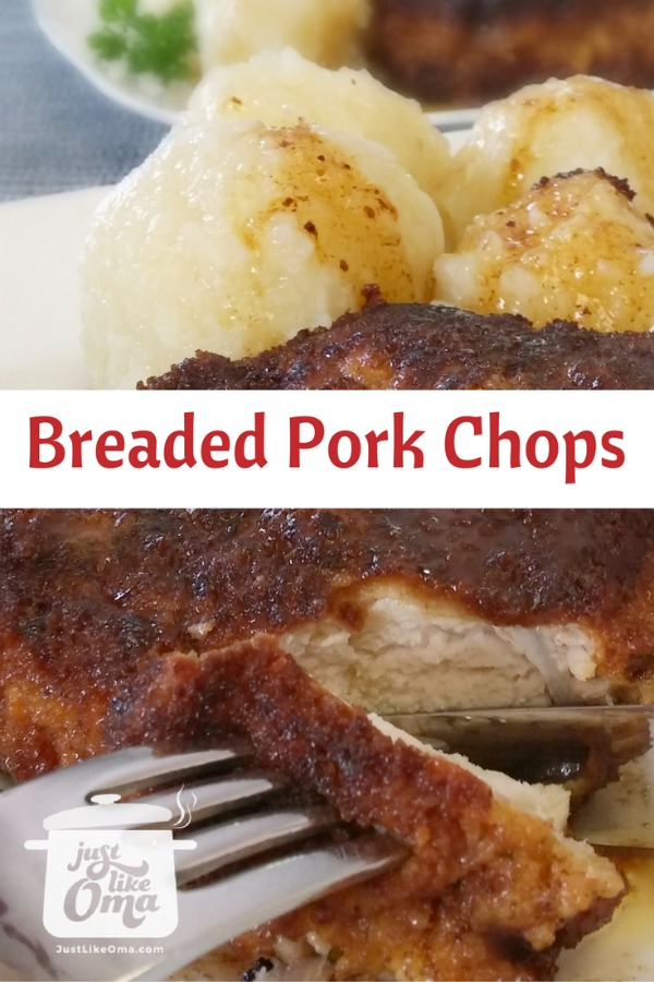 breaded pork chop with potato dumplings and red cabbage