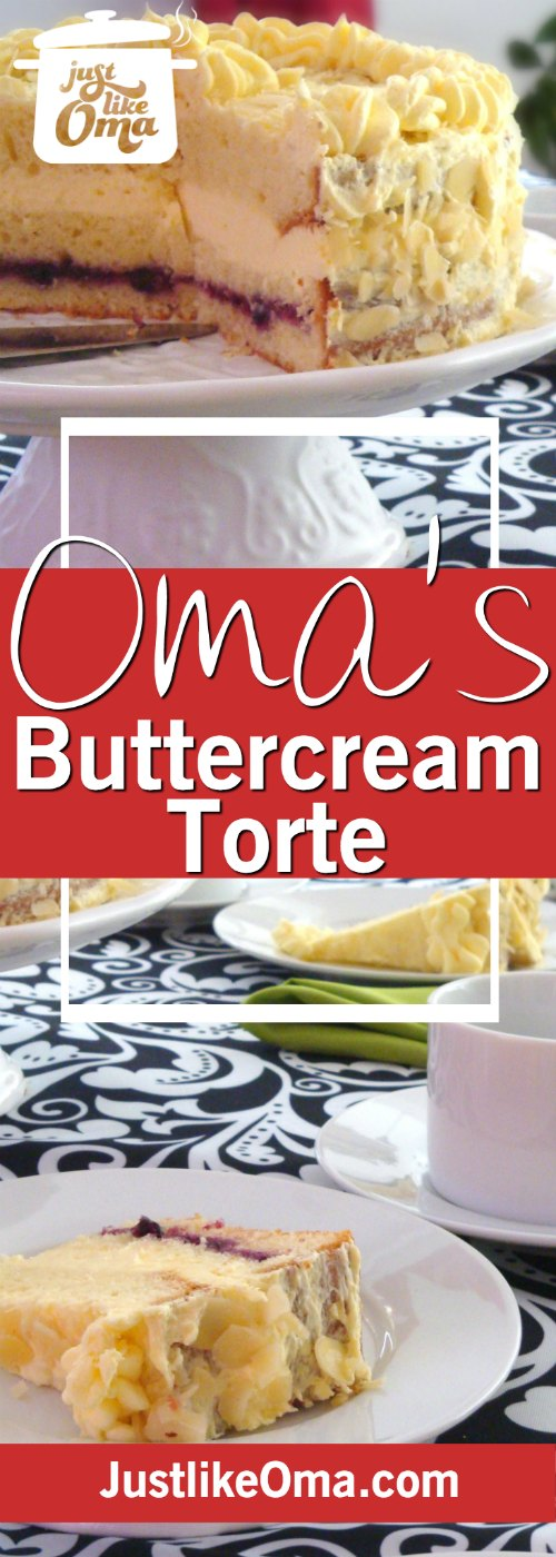 Wonderful German Pineapple Buttercream torte with easy Buttercream Frosting ❤️ made just like Oma.  Check it out at http://www.quick-german-recipes.com/easy-buttercream-frosting.html