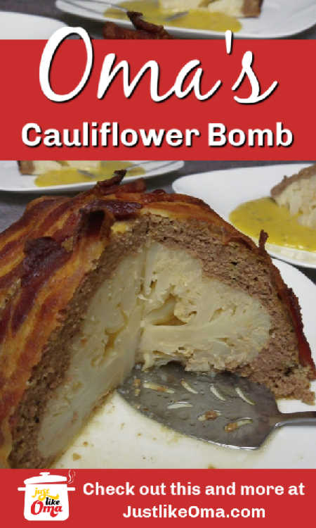Baked cauliflower bomb: a head of cauliflower covered with meatloaf and surrounded with bacon. A yummy bomb of flavor! Try this! #cauliflower #germanfood #cauliflowerbomb