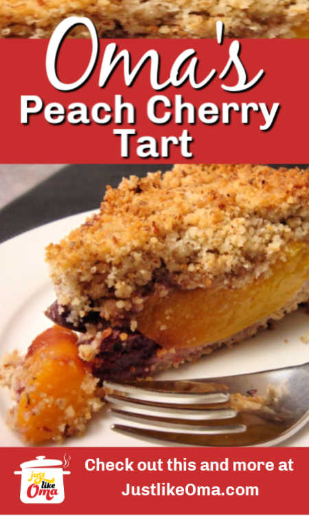 ❤️ This German Cherry Peach Tart with Streusel is a quick and simple way to enjoy your fruit. Top with whipped cream or ice cream, it's divine!