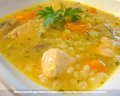 German Food Recipe: Barley Soup with Chicken