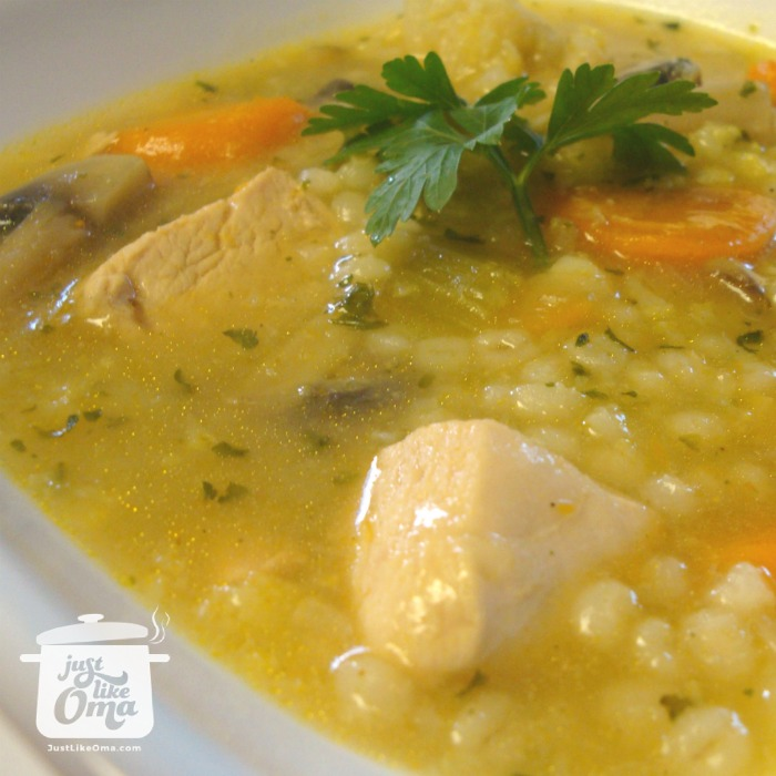 ❤️ Chicken Barley Soup - comfort food, Oma-style! Recipe: https://www.quick-german-recipes.com/barley-soup-recipe.html #barleysoup #germanfood #justlikeoma