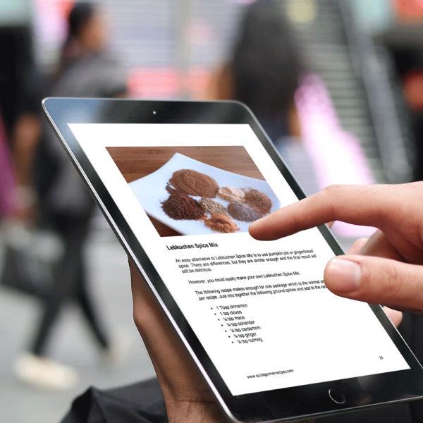 Christmas Baking eCookbook on tablet