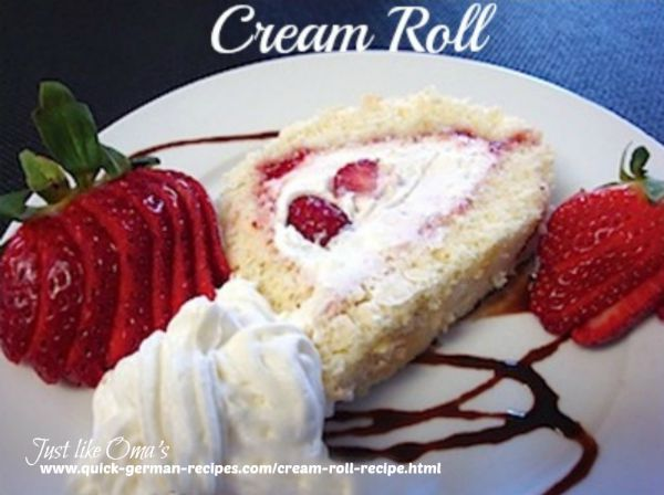 Cream Roll filled with whipped cream and strawberries and served with a dollop of whipped cream, chocolate sauce and strawberries