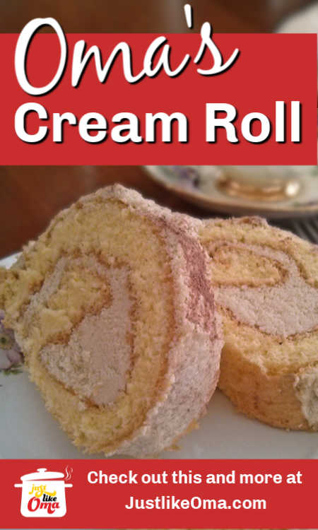 Make Oma's German Cream Roll filled with cream and/or fruit. Delicious traditional German dessert.