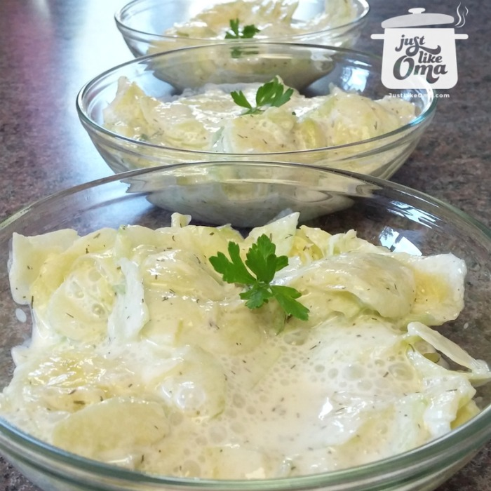 Mutti's traditional German Cucumber Salad made with sour cream. ❤️  https://www.quick-german-recipes.com/german-cucumber-salad-recipe.html is so easy to make, and SO delicious!