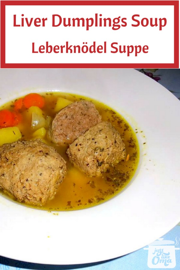 ❤️ Soup with liver dumplings, aka Leberknödel Suppe, a very traditional German Soup.  https://www.quick-german-recipes.com/liver-dumplings.html #justlikeoma #germanrecipe #soup