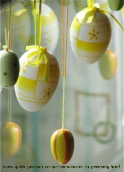 yellow hanging Easter eggs