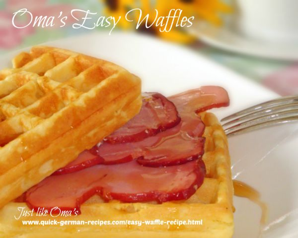 German Breakfast: Waffles with ham