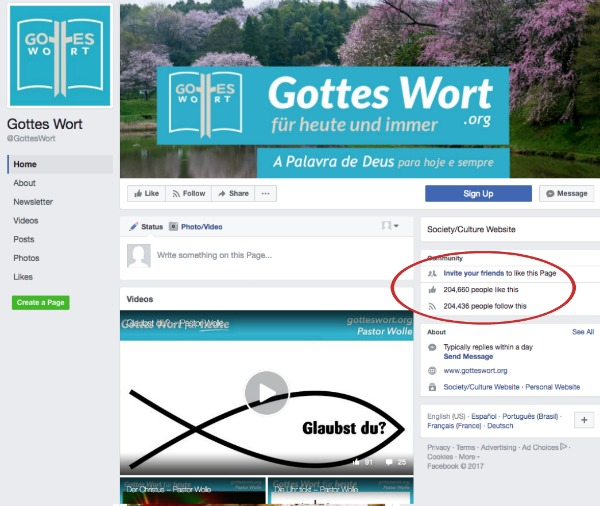 Facebook results for Gottes Wort website