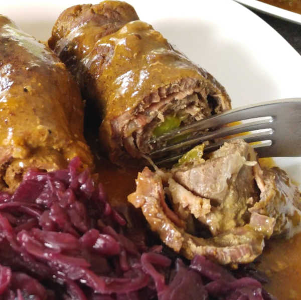 These incredible fork-tender beef rouladen using the pressure cooker