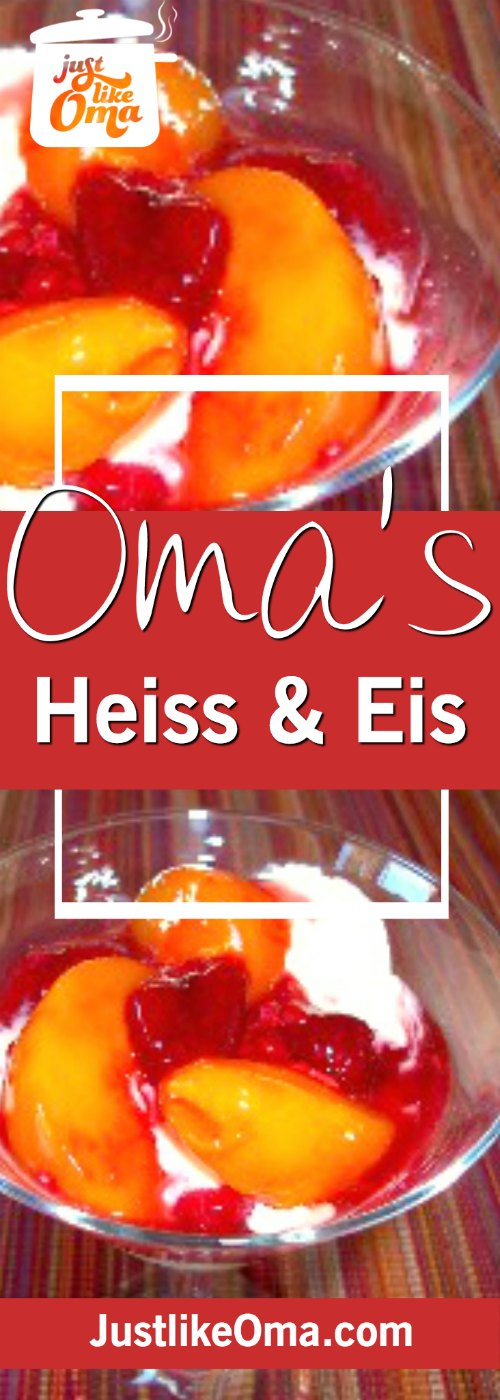 Heiss und Eis: a traditional German dessert made with a hot fruit sauce (Heiss) and ice cream (Eis) ❤️ http://www.quick-german-recipes.com/frozen-fruit-dessert.html