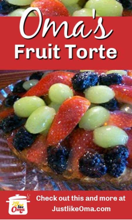 ❤️ Oma's German Fruit Torte -- luscious fruit tops this German cake.