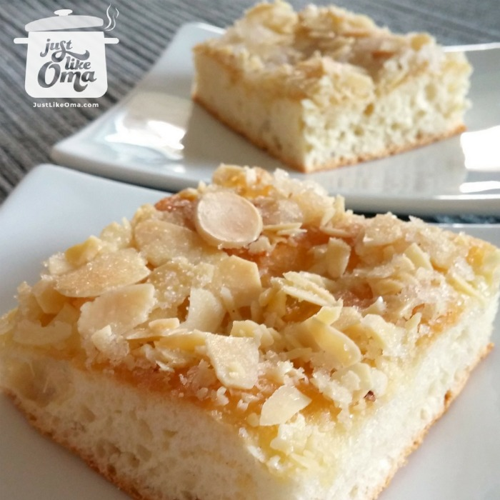 Oma's German butter cake, aka Butterkuchen ❤️  with an easy yeast dough (use your bread machine for this) http://www.quick-german-recipes.com/german-butter-cake.html