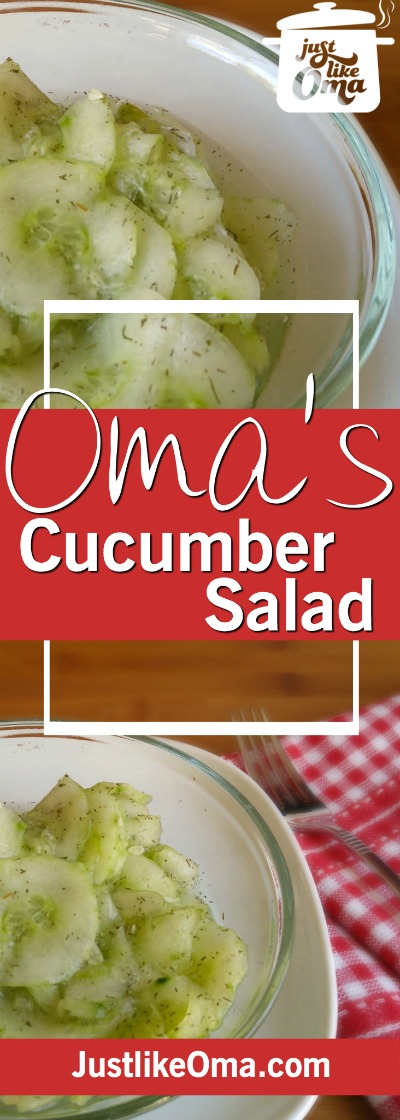 Oma's traditional German Cucumber Salad is so easy to make, and SO delicious! ❤️ Here's how: https://www.quick-german-recipes.com/german-cucumber-salad.html