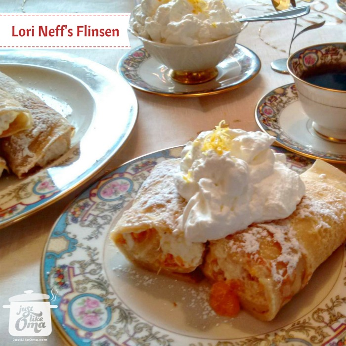 Enjoy a nice afternoon tea set with filled German pancakes and topped with whipped cream.