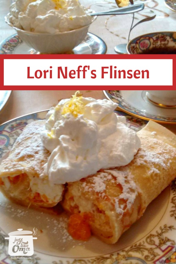Afternoon tea set with filled German pancakes and topped with whipped cream