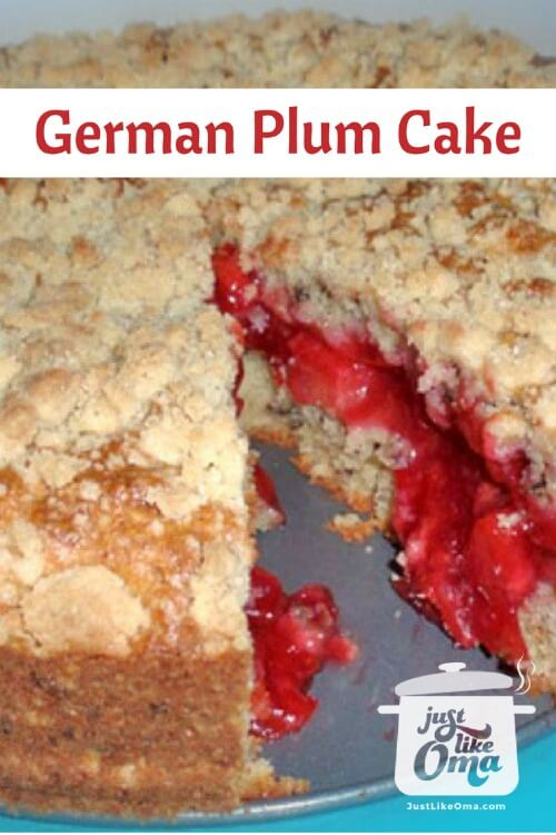 ❤️ Grandma's Plum Streuselkuchen is a delicious journey down memory lane  https://www.quick-german-recipes.com/german-plum-cake.html #germanrecipes #plumcake #justlikeoma