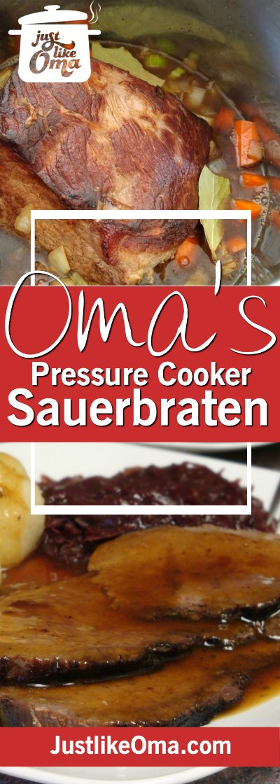 Sauerbraten, made in an Instant Pot pressure cooker, makes this traditional German meal, an easy holiday feast. ❤️ Check out http://www.quick-german-recipes.com/german-sauerbraten.html now!