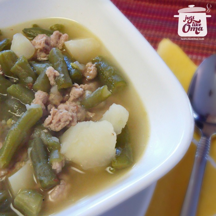 ❤️ My emergency soup German Green Bean Soup. Quick, Easy, Delicious! https://www.quick-german-recipes.com/green-bean-soup-recipe.html #beansoup #germanrecipe #justlikeoma