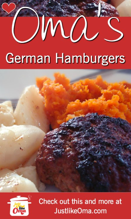 German Hamburgers are such a great treat for a summer-time BBQ! Try pairing it with some German potato salad and yummy corn on the cob.