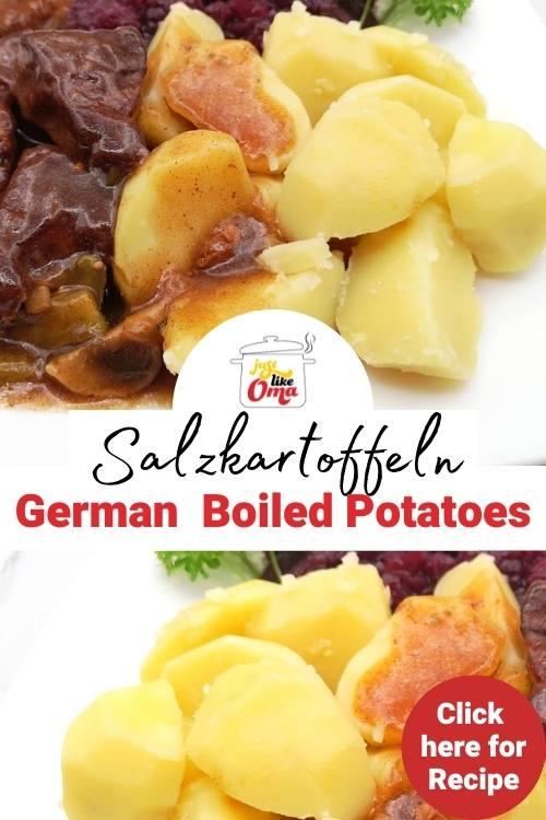 Plate with boiled potatoes, ham hocks, and sauerkraut salad