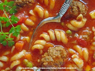 Italian Meatball Soup - a minestrone soup