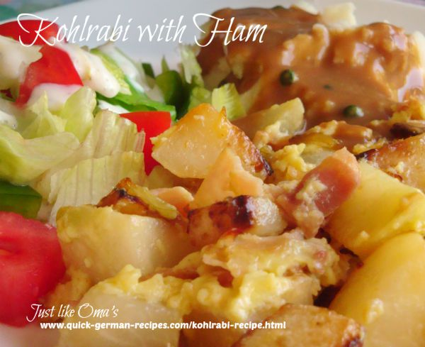 Kohlrabi recipe with ham