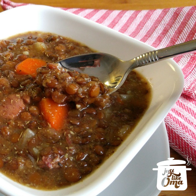 ❤️ Traditional German Lentil Soup made just like your Oma's.  https://www.quick-german-recipes.com/how-to-make-lentil-soup.html #lentilsoup #justlikeoma #germanrecipe