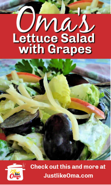 ❤️ Lettuce salad with grapes and added cheese and apples.