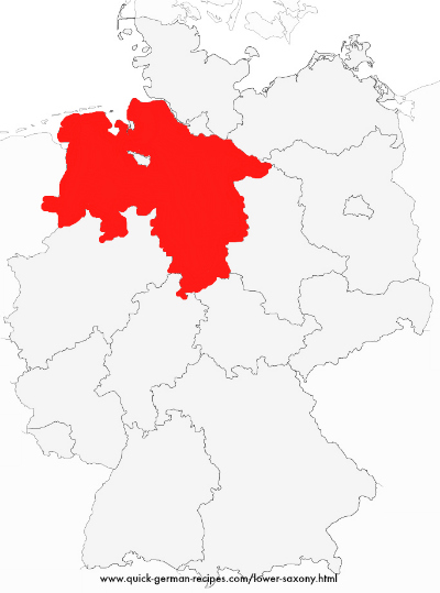 Map of Germany showing Lower Saxony