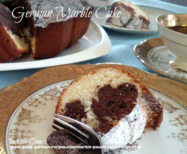 This German Marble cake, https://www.quick-german-recipes.com/marble-pound-cake-recipe.html , is just what my Hubby always asks for. Easy to make and so delicious! ❤️
