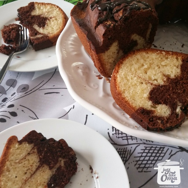 German Marble Pound Cake, served on white plates