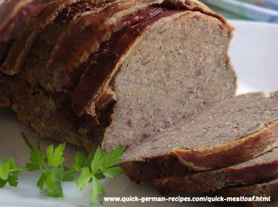 German Foods: German Meatloaf with Bacon