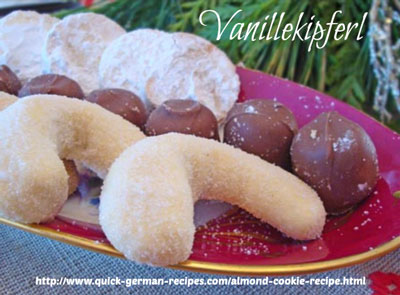 This German Almond Cookie is the traditional vanillekipfel that we love at Christmas. ❤️ Share it! Pin it! Make it! Enjoy it! https://www.quick-german-recipes.com/almond-cookie-recipe.html
