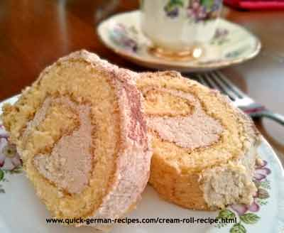 German Cake Recipe: Cream Roll with Buttercream filling