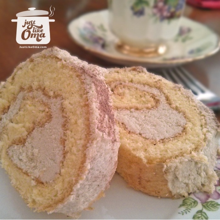 Buttercream-filed cream rolls served with a fancy tea service