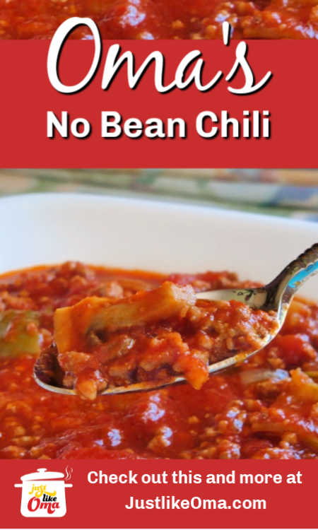 ❤️ No Bean Chili is an easy, delicious recipe to use as soup, as chili, as spaghetti sauce. Try it! You'll like it. And, it's low carb!