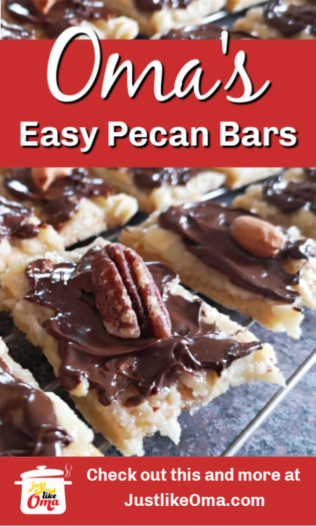 Pecan or Almond Bars! My sister found this easy method to try to recreate one of her favorite treats, Nussecken.