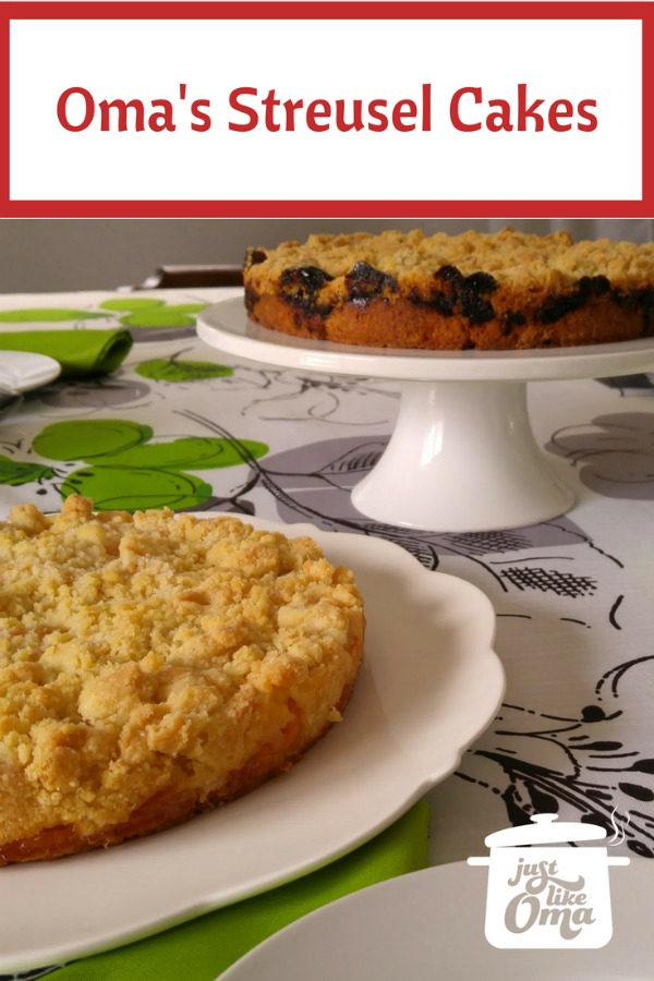 Peach Streusel (foreground) and Plum Jam Streusel Cakes served for Coffee time!