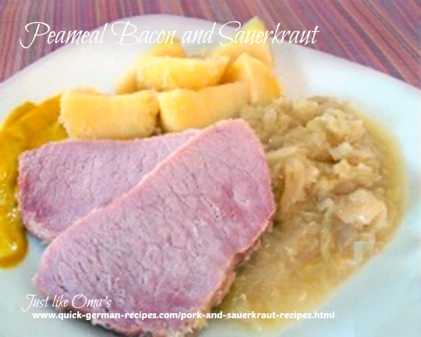 German meal: Peameal Bacon with Sauerkraut (Kassler alternative)