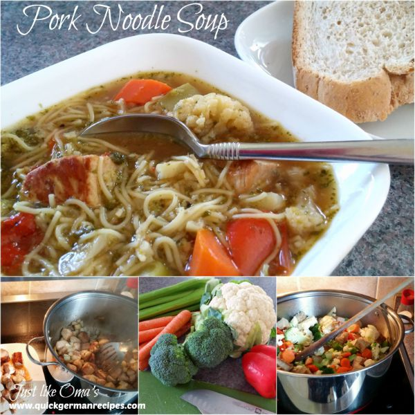 ❤️ German Pork Noodle Soup with Veggies made just like Oma! https://www.quick-german-recipes.com/pork-noodle-soup.html #noodlesoup #germanrecipe #justlikeoma