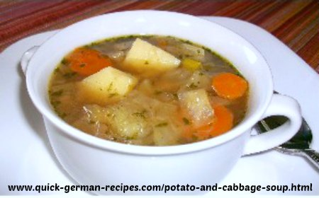 German Food Recipes: Potato and Cabbage Soup