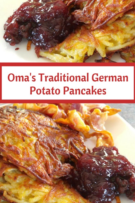 German potato pancakes, done the traditional way. SO GOOD! Serve sprinkled with sugar or with applesauce. OR as a savory side dish.