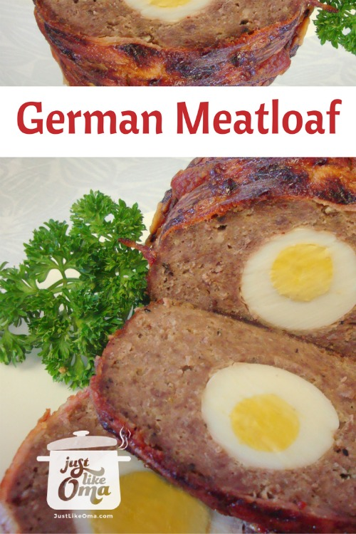 Slices of meatloaf with hard boiled eggs hidden inside