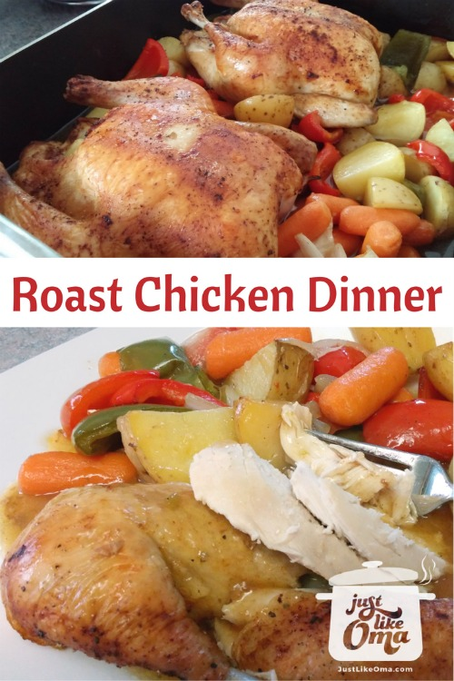 Collage PIN showing roasted chicken and vegetables