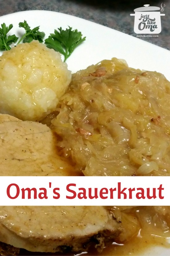 Plate with sauerkraut, potato dumplings, and pork roast