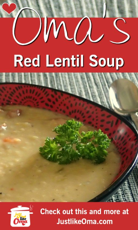 ❤️ Traditional German Red Lentil Soup made just like Oma! So good! https://www.quick-german-recipes.com/red-lentil-soup-recipe.html #lentilsoup #germanrecipe #justlikeoma